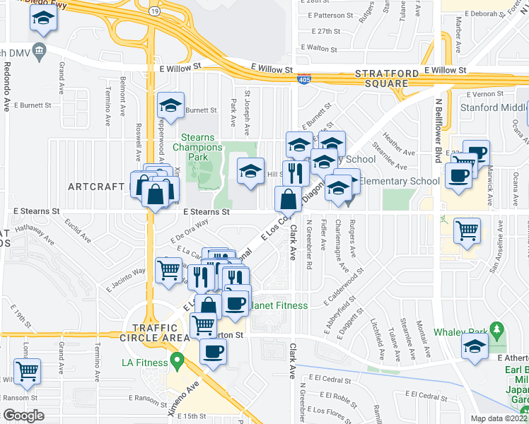 map of restaurants, bars, coffee shops, grocery stores, and more near 5016 Stearns Street in Long Beach
