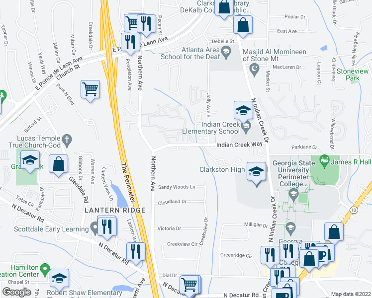 map of restaurants, bars, coffee shops, grocery stores, and more near 3546-3566 Indian Creek Way in Clarkston