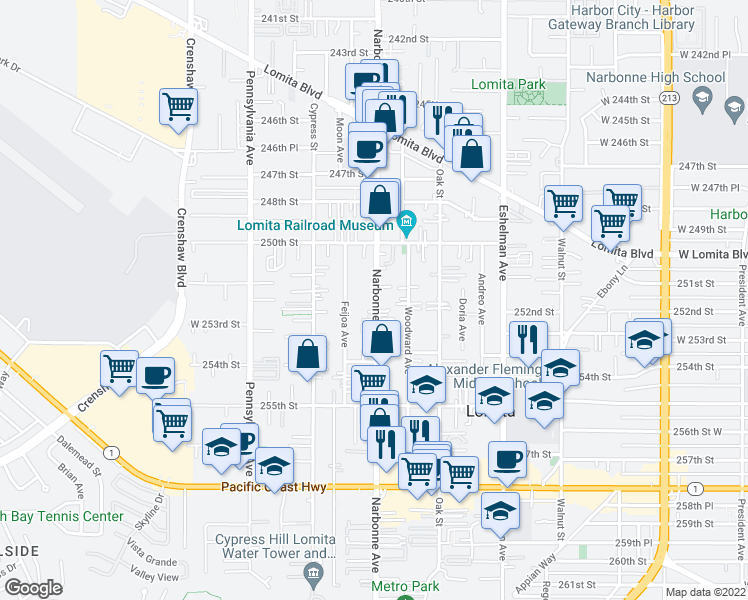 map of restaurants, bars, coffee shops, grocery stores, and more near 25131 Narbonne Ave in Lomita