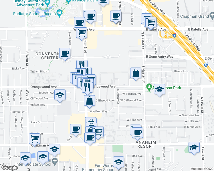 map of restaurants, bars, coffee shops, grocery stores, and more near 401 West Orangewood Avenue in Anaheim