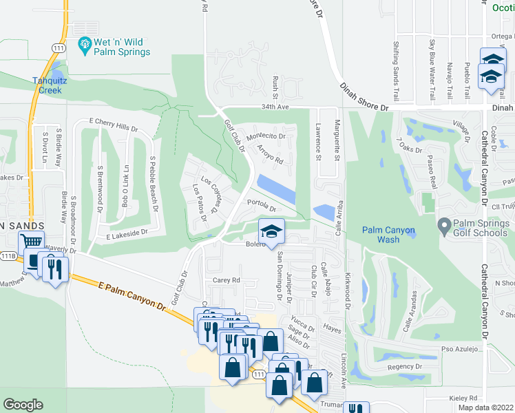 map of restaurants, bars, coffee shops, grocery stores, and more near 38 Pueblo Vista Street in Palm Springs