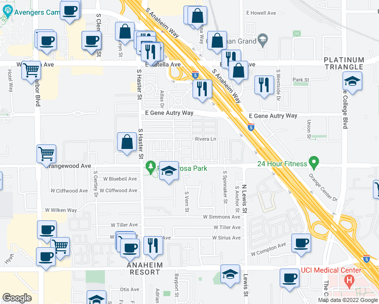 map of restaurants, bars, coffee shops, grocery stores, and more near 326 East Pearson Avenue in Anaheim