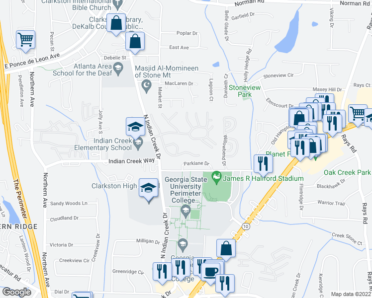 map of restaurants, bars, coffee shops, grocery stores, and more near 751 North Indian Creek Drive in Clarkston