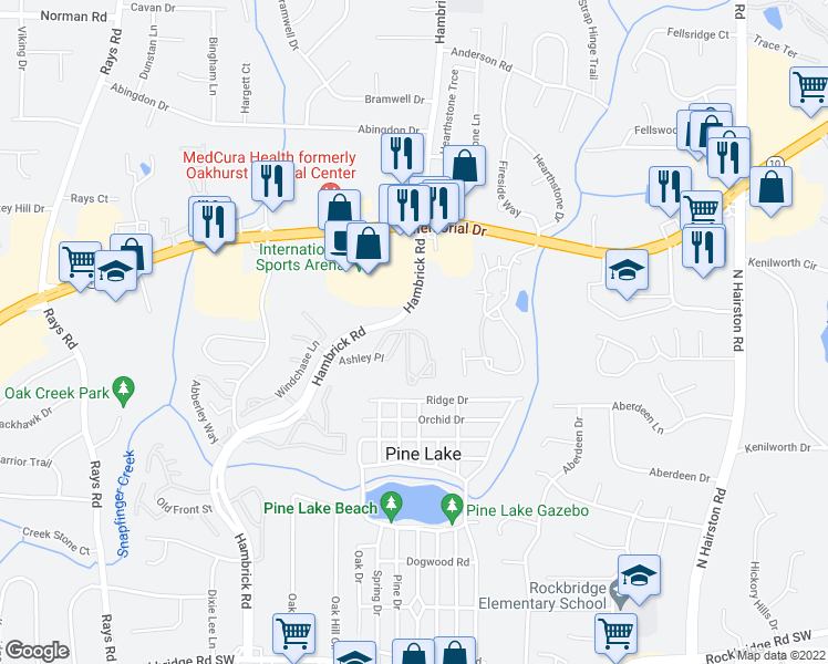 map of restaurants, bars, coffee shops, grocery stores, and more near 720-728 Hambrick Road in Stone Mountain