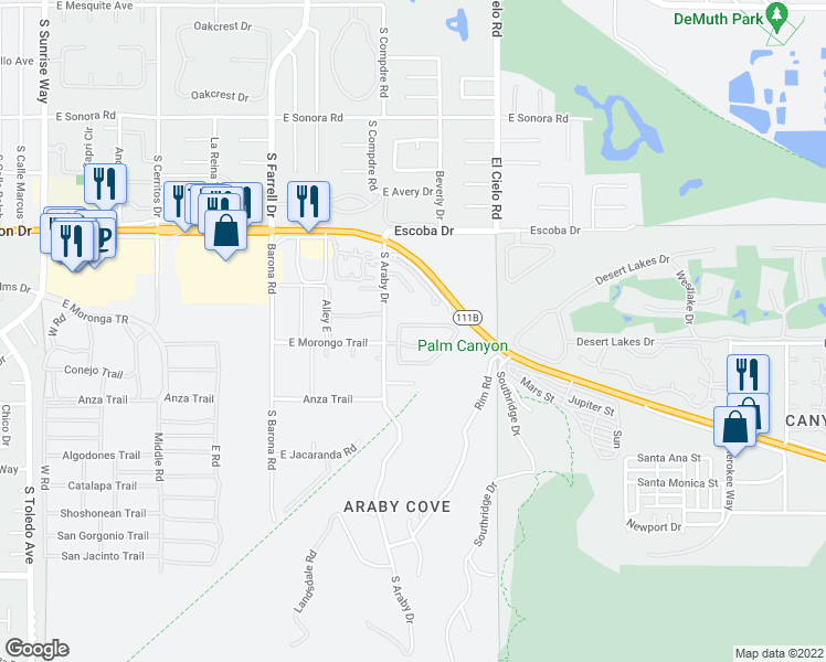 map of restaurants, bars, coffee shops, grocery stores, and more near 2943 Candlelight Ln in Palm Springs