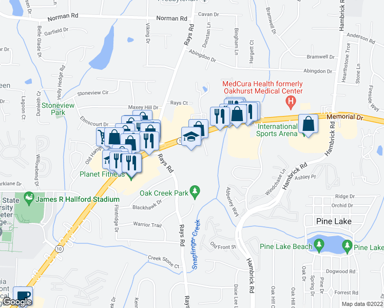 map of restaurants, bars, coffee shops, grocery stores, and more near 5365 Memorial Drive in Stone Mountain