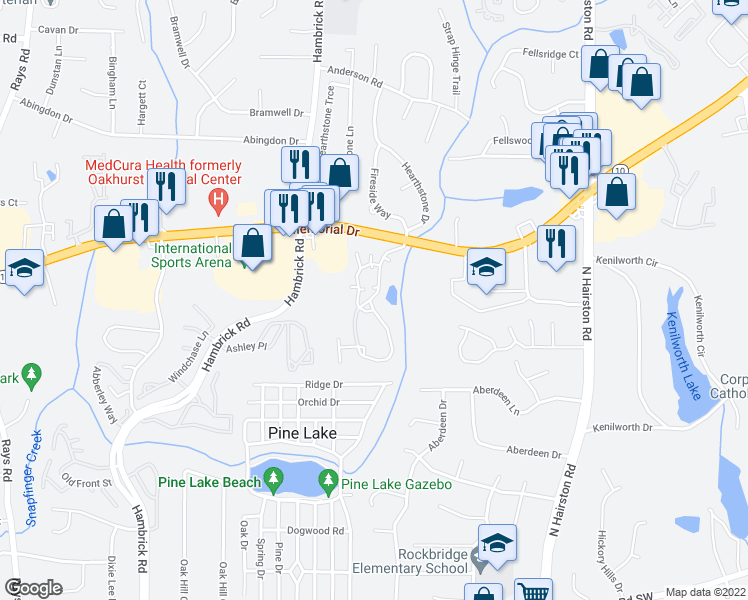 map of restaurants, bars, coffee shops, grocery stores, and more near 2700 Summit Creek Drive in Stone Mountain