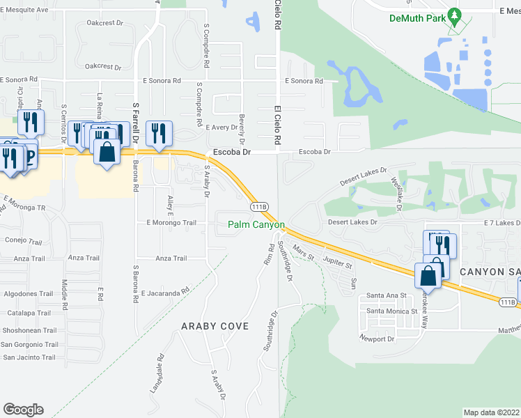 map of restaurants, bars, coffee shops, grocery stores, and more near East Palm Canyon Drive in Palm Springs