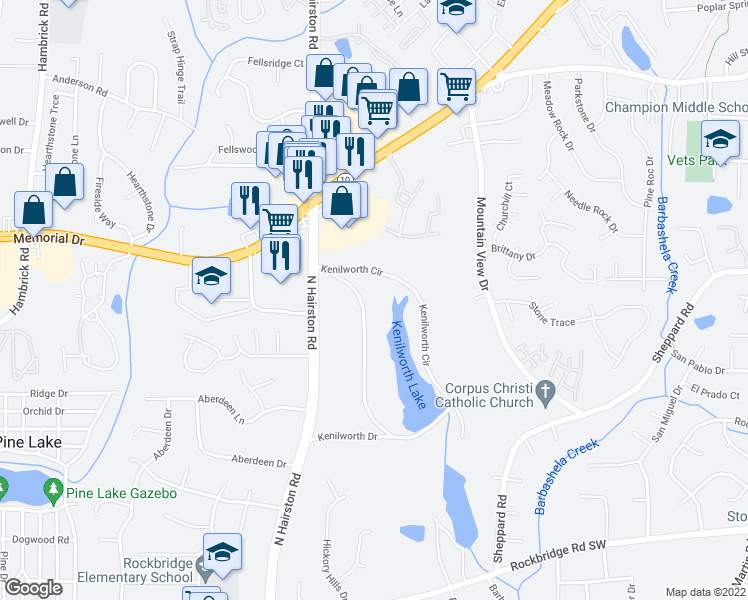 map of restaurants, bars, coffee shops, grocery stores, and more near 751 Kenilworth Circle in Stone Mountain