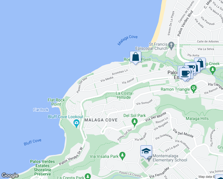 map of restaurants, bars, coffee shops, grocery stores, and more near 517 Palos Verdes Drive West in Palos Verdes Estates