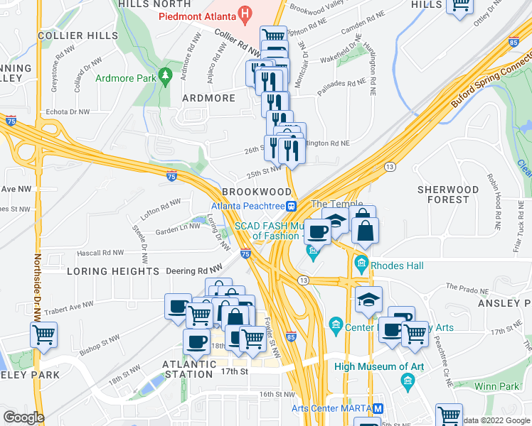 map of restaurants, bars, coffee shops, grocery stores, and more near 37 Standish Avenue Northwest in Atlanta