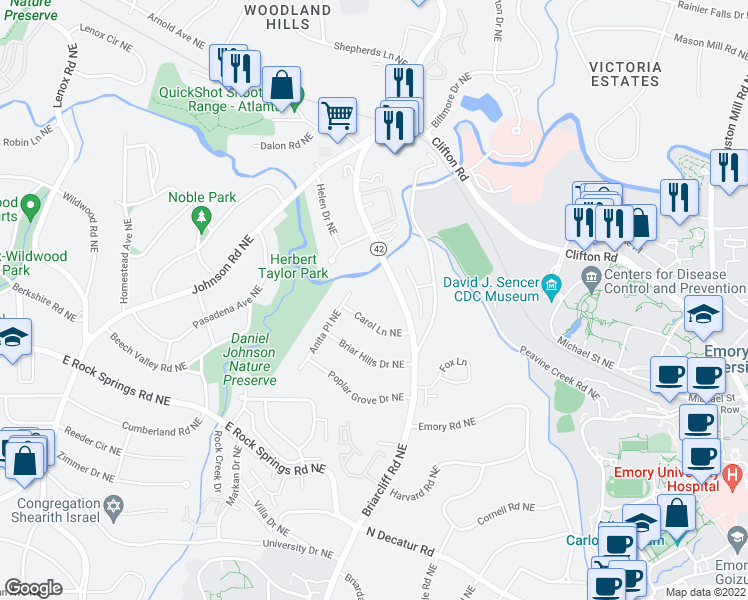 map of restaurants, bars, coffee shops, grocery stores, and more near 1612 Briarcliff Road Northeast in Atlanta