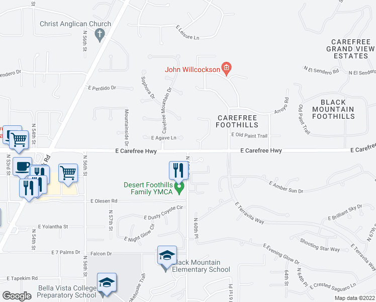 map of restaurants, bars, coffee shops, grocery stores, and more near 5973 East Agave Lane in Cave Creek