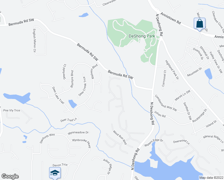map of restaurants, bars, coffee shops, grocery stores, and more near 6948 Harbor Town Way in Stone Mountain