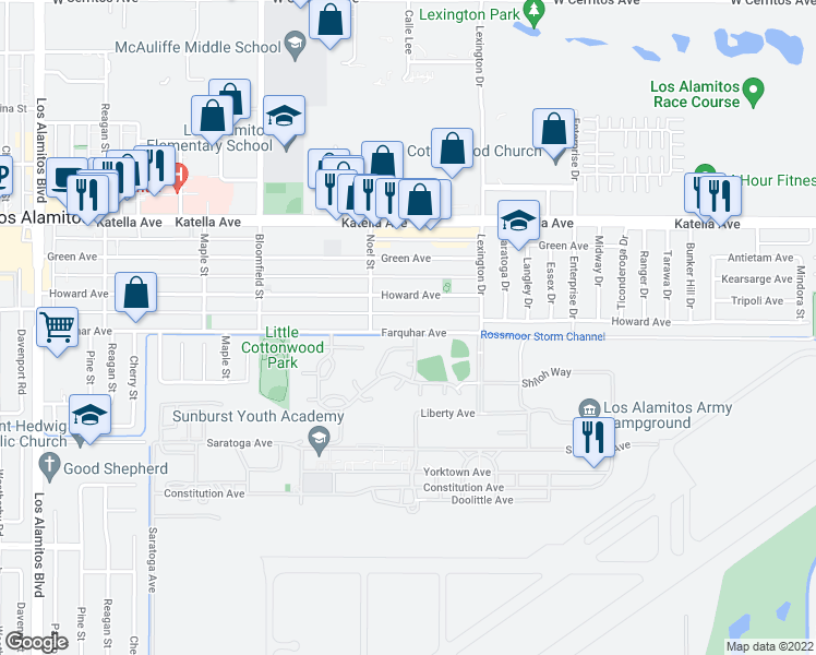 map of restaurants, bars, coffee shops, grocery stores, and more near 4313 Farquhar Avenue in Los Alamitos