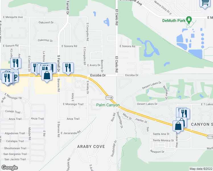 map of restaurants, bars, coffee shops, grocery stores, and more near 2925 Escoba Drive in Palm Springs