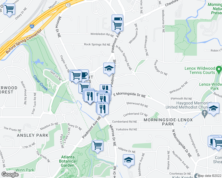 map of restaurants, bars, coffee shops, grocery stores, and more near 596 East Morningside Drive Northeast in Atlanta