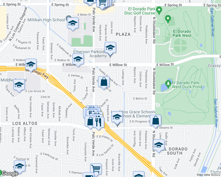 map of restaurants, bars, coffee shops, grocery stores, and more near 6521 East Don Julio Street in Long Beach