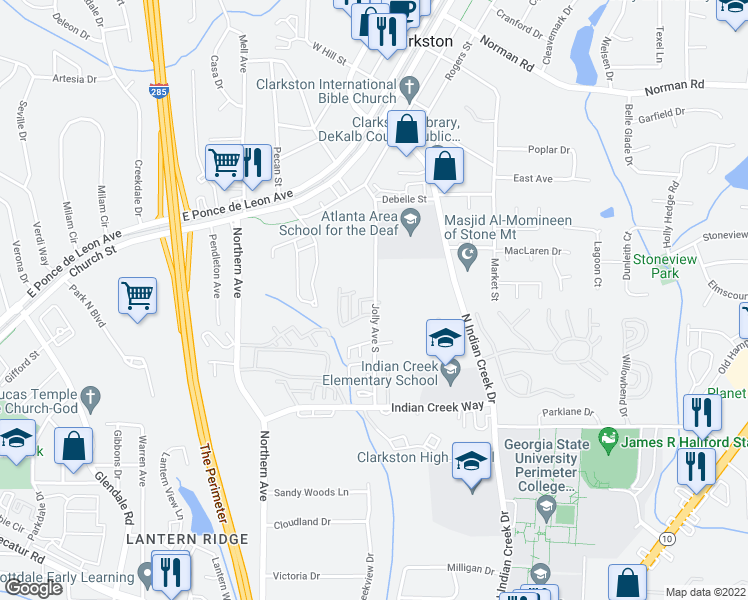 map of restaurants, bars, coffee shops, grocery stores, and more near 803 Jolly Avenue South in Clarkston