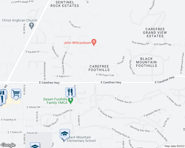 map of restaurants, bars, coffee shops, grocery stores, and more near 34636 North Sunset Trail in Cave Creek