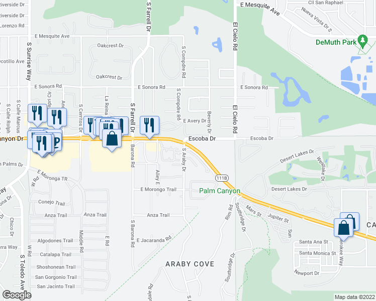 map of restaurants, bars, coffee shops, grocery stores, and more near 1700 South Araby Drive in Palm Springs
