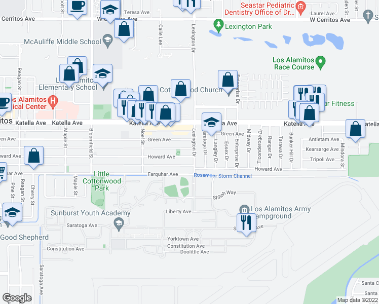 map of restaurants, bars, coffee shops, grocery stores, and more near 4463 Howard Avenue in Los Alamitos