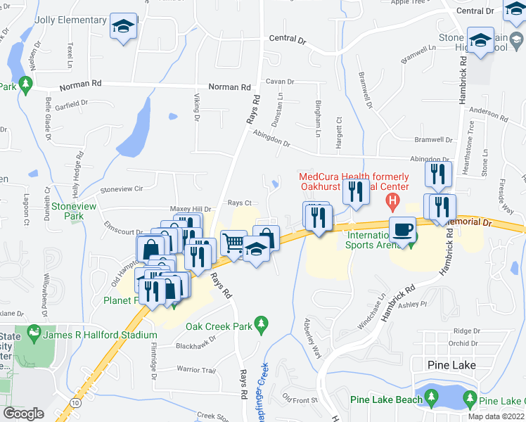 map of restaurants, bars, coffee shops, grocery stores, and more near 5400 Memorial Drive in Stone Mountain