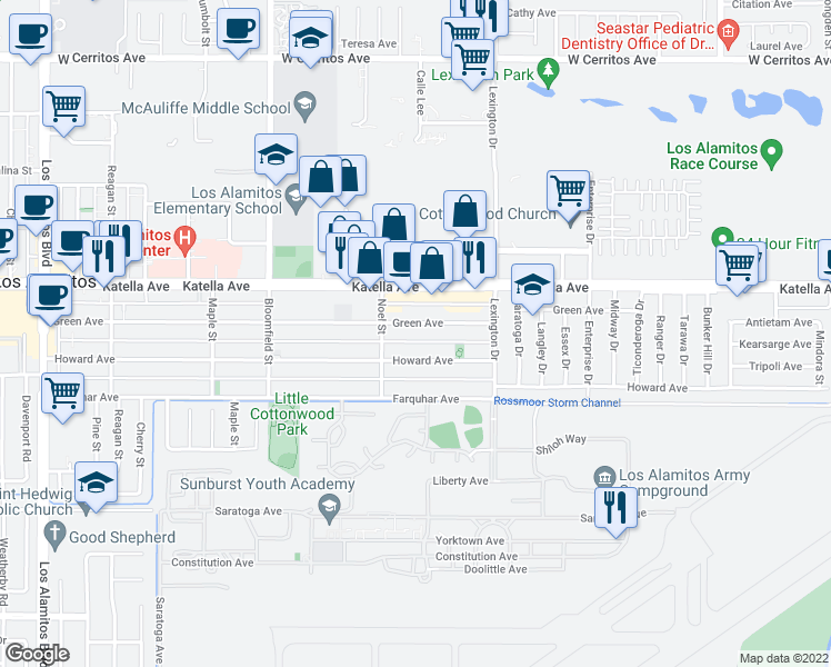 map of restaurants, bars, coffee shops, grocery stores, and more near 4312 Green Ave in Los Alamitos