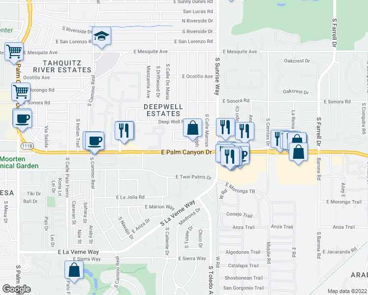 map of restaurants, bars, coffee shops, grocery stores, and more near 1400 East Palm Canyon Drive in Palm Springs