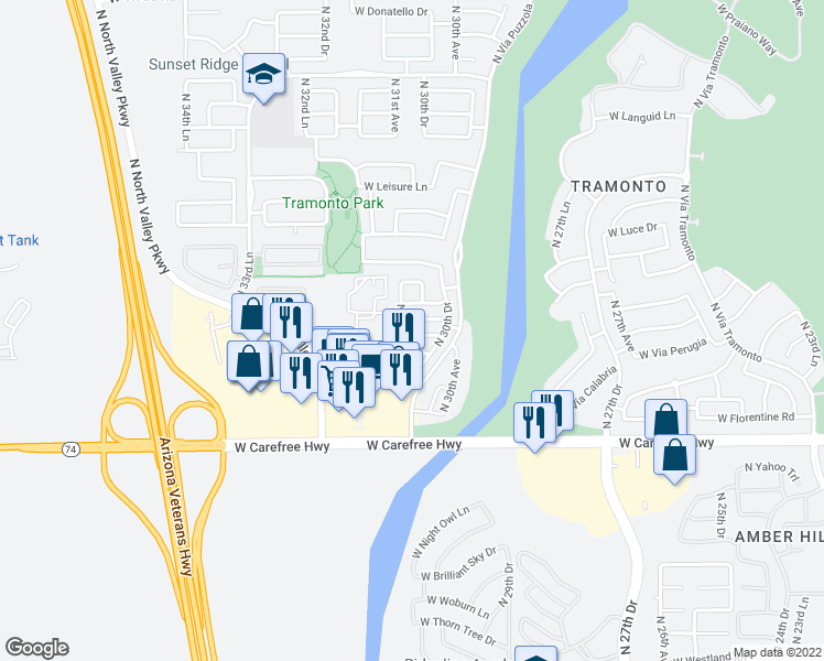 map of restaurants, bars, coffee shops, grocery stores, and more near 3032 West Cavalry Drive in Phoenix
