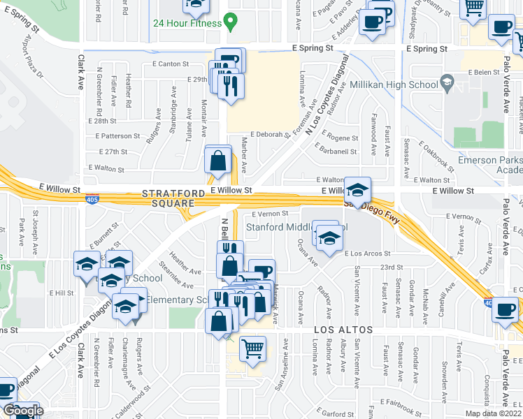 map of restaurants, bars, coffee shops, grocery stores, and more near 5611 East Vernon Street in Long Beach