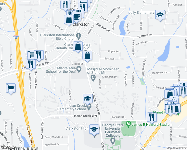 map of restaurants, bars, coffee shops, grocery stores, and more near 3720 Jamieson Place in Clarkston