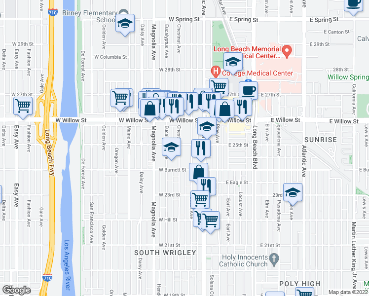 map of restaurants, bars, coffee shops, grocery stores, and more near 322 West 25th Street in Long Beach
