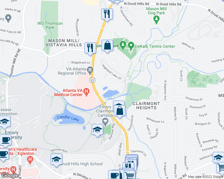 map of restaurants, bars, coffee shops, grocery stores, and more near Clairmont Lake in North Druid Hills
