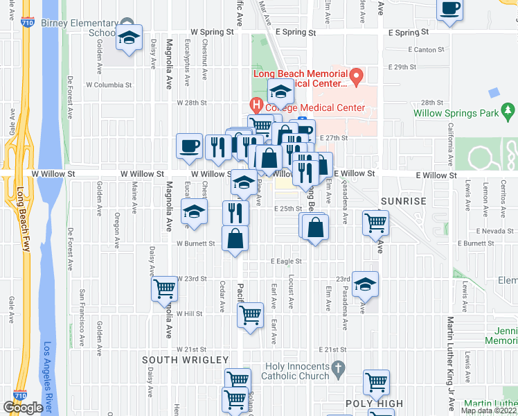 map of restaurants, bars, coffee shops, grocery stores, and more near W 25th St & E 25th St in Long Beach