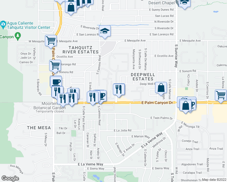 map of restaurants, bars, coffee shops, grocery stores, and more near 1028 East Palm Canyon Drive in Palm Springs