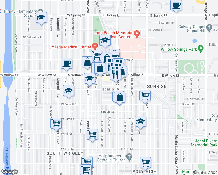 map of restaurants, bars, coffee shops, grocery stores, and more near 243 East 25th Street in Long Beach