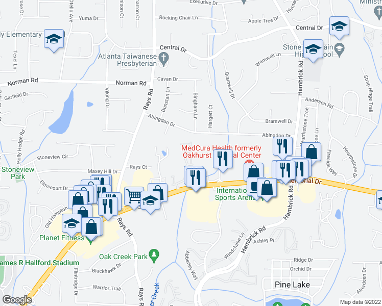 map of restaurants, bars, coffee shops, grocery stores, and more near 845 Langston Trace in Stone Mountain