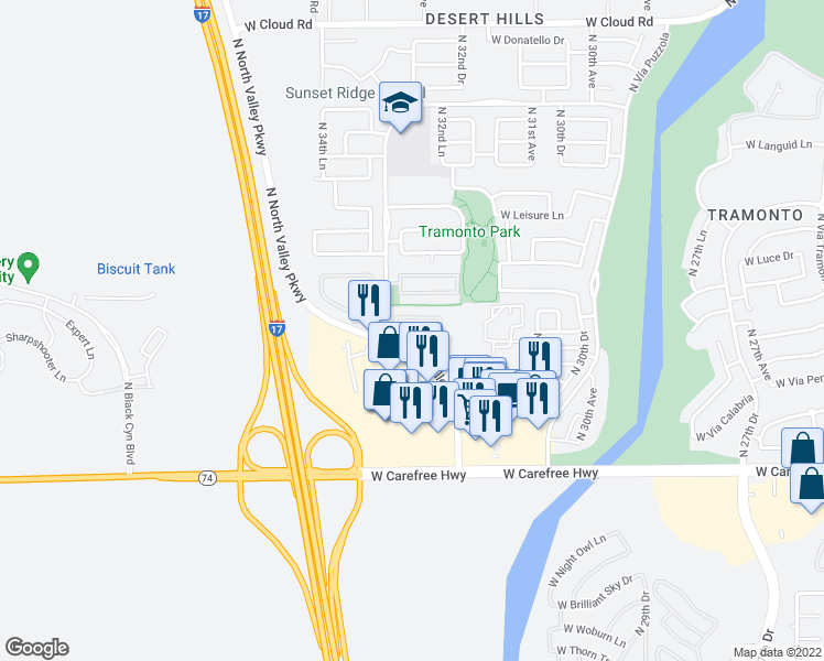 map of restaurants, bars, coffee shops, grocery stores, and more near 35035 North North Valley Parkway in Phoenix