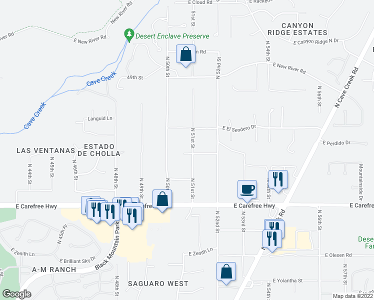 map of restaurants, bars, coffee shops, grocery stores, and more near 35030 North 51st Street in Cave Creek