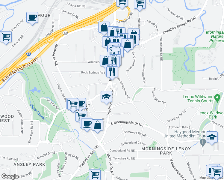 map of restaurants, bars, coffee shops, grocery stores, and more near 565-639 Montgomery Ferry Drive Northeast in Atlanta