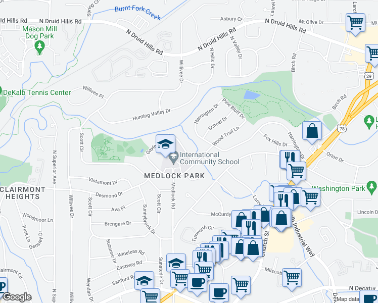 map of restaurants, bars, coffee shops, grocery stores, and more near 986 Gaylemont Circle in Decatur