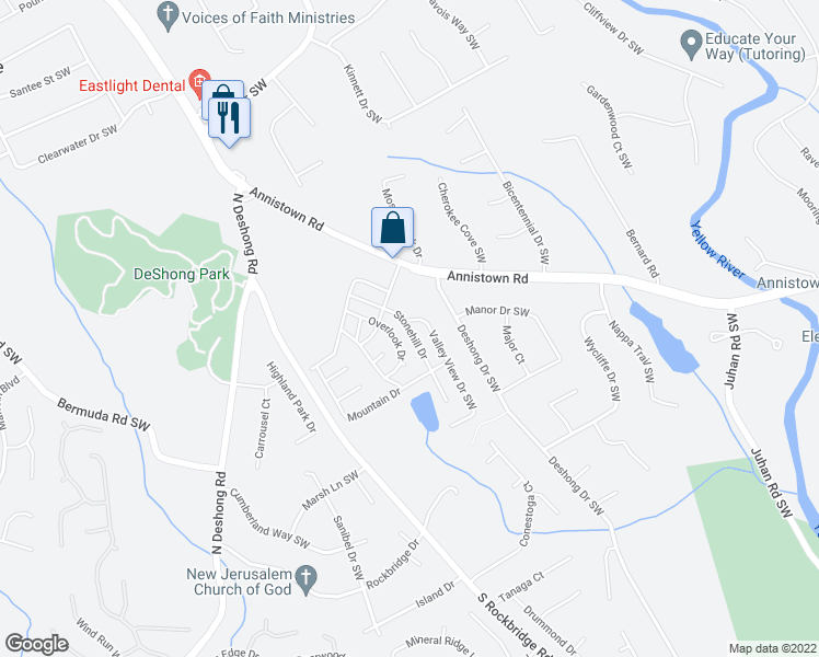 map of restaurants, bars, coffee shops, grocery stores, and more near 563-673 Stonehill Drive in Stone Mountain