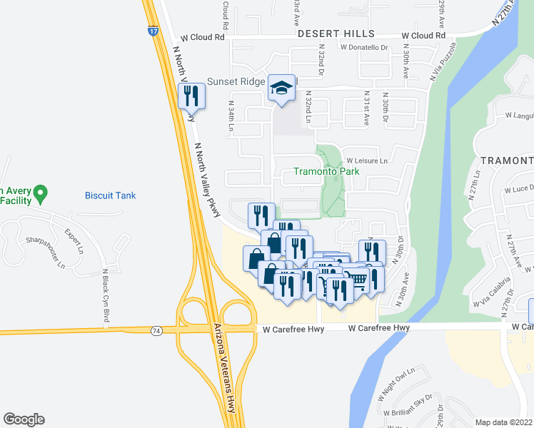 map of restaurants, bars, coffee shops, grocery stores, and more near 35127 North 34th Avenue in Phoenix