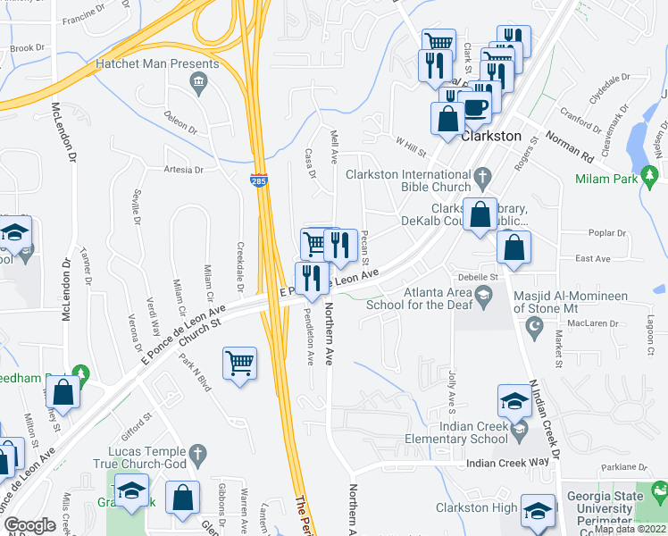 map of restaurants, bars, coffee shops, grocery stores, and more near 3906 East Ponce de Leon Avenue in Clarkston