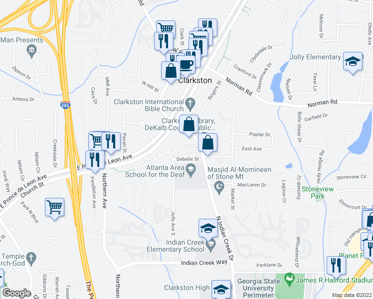 map of restaurants, bars, coffee shops, grocery stores, and more near 3636 Debelle Street in Clarkston
