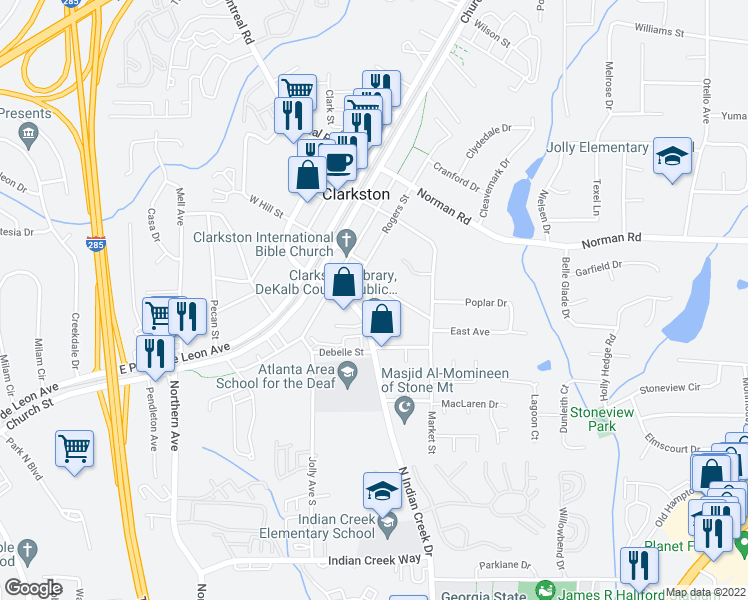 map of restaurants, bars, coffee shops, grocery stores, and more near 3701 College Avenue in Clarkston