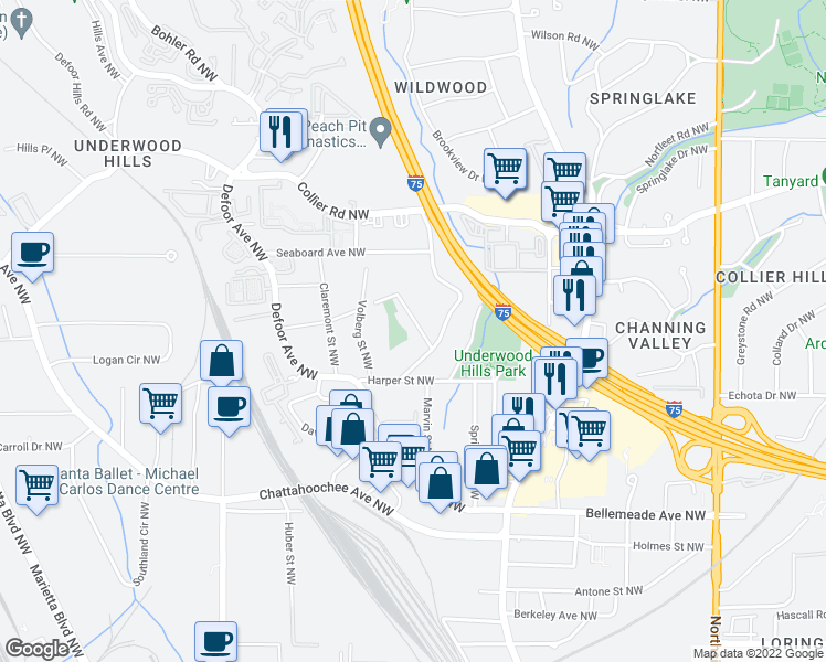 map of restaurants, bars, coffee shops, grocery stores, and more near 1870 Cambria Ave NW in Atlanta