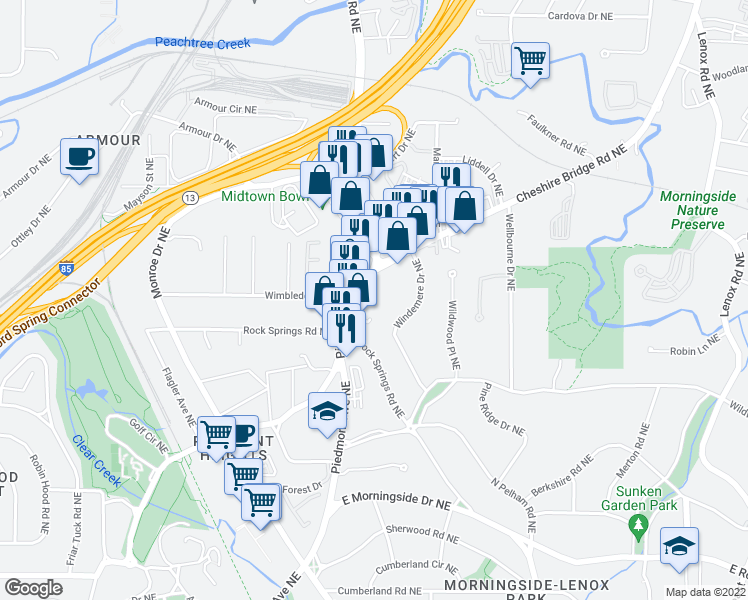 map of restaurants, bars, coffee shops, grocery stores, and more near 1845 Piedmont Avenue Northeast in Atlanta