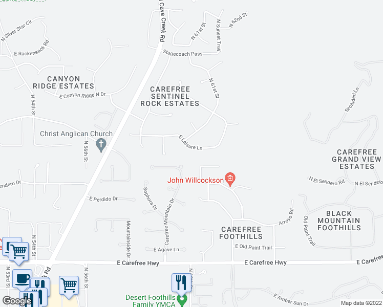 map of restaurants, bars, coffee shops, grocery stores, and more near 6001 East Leisure Lane in Cave Creek
